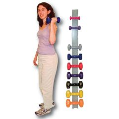 Cando Vinyl Dumbbells with Wall Rack