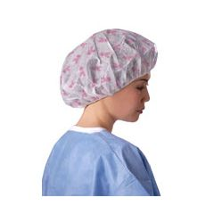 ProSeries Breast Cancer Ribbon Print Bouffant Cap
