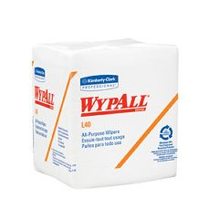 "WypAll L40 Wipers - 12.5 x 13"", White, 1/4  fold"