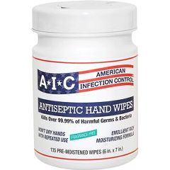 AIC Antiseptic Hand Hygenic Wipes - 135 count