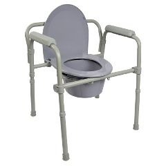 "McKesson Folding Steel Frame Commode with 7.5 QT Bucket 16.6"" - 22.5"""