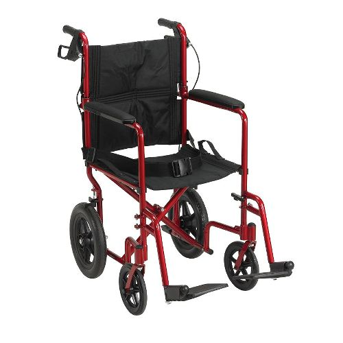 """Drive Lightweight Expedition Aluminum Transport Chair with Loop Locks and 12"""" Rear"""