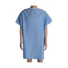 DMI Easy Access Patient Hospital Gown with Snap Shoulders, Blue