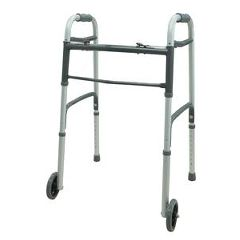 "Cardinal Health Dual Blue-Release Adult Walker with 5"" Wheels"