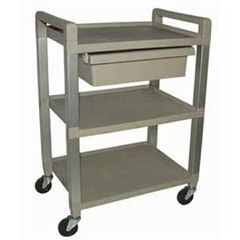 Ideal Poly 3 Shelf Cart W/Drawer And Power Strip