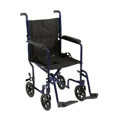 Mckesson by Drive McKesson Lightweight Blue Aluminum Transport Chair Fixed Arms, Padded Back