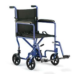 Invacare Aluminum Transport Chair - Blue