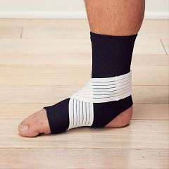 Sammons Preston Neoprene Ankle Supports With Strap Black, Large Men's-10-12