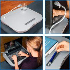 Deluxe Comfort Laptop Desk With Light - Grey