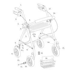 Parts for Drive Four Wheel Rollator Walker Model 10257