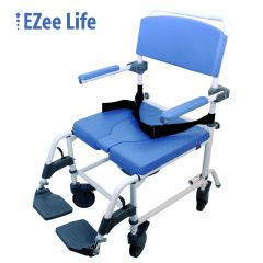 EZee Life Healthline 186 Aluminum Wide Shower Commode Chair - Bariatric