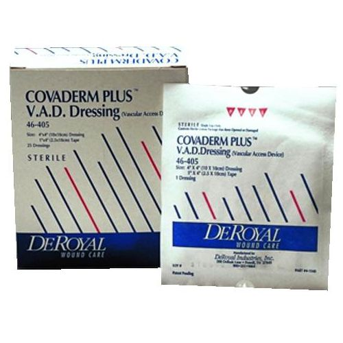 """DeRoyal COVADERM PLUS V.A.D. Island Dressing - overall 4 x 4"""", pad 2 x 2"""" Model 730 0580"""