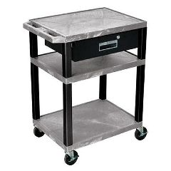 Luxor /H Wilson Luxor 3 Shelf Utility Cart With Top Drawer- Gray