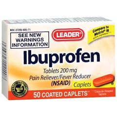 Cardinal Health Leader Ibuprofen Orange Caplets 50 Count