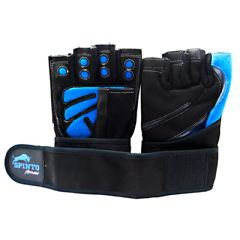 Spinto Men's Workout Glove w/ Wrist Wraps - Blue/Gray (LG)