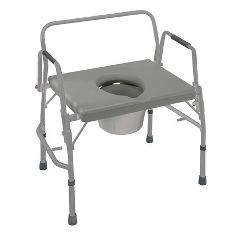 Extra-Wide Heavy-Duty Drop Arm Commode, 500 lb Capacity