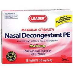 Cardinal Health Leader Nasal Decongestant PE Tablets 10 mg