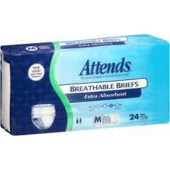 """Attends Breathable Briefs Extra Absorbent - Medium 32"""" - 44"""""""