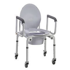 Aluminum Commode With Drop Arms And Wheels