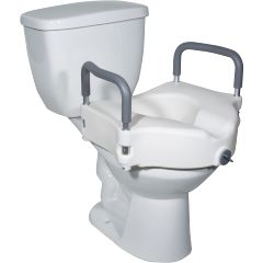 "Locking Elevated Toilet Seat - 5"" with Removable Arms"