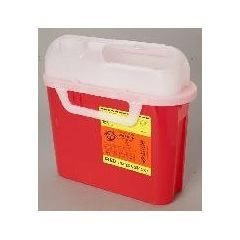 Sharps Container, Side Entry - 5.4 Quart, Red