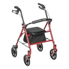 Red Four Wheel Rollator Walker with Fold Up Removable Back Support