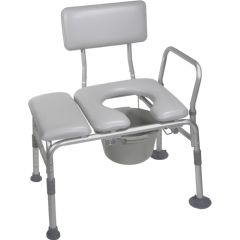 Padded Transfer Bench and Commode Combo - Bath Chair