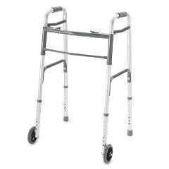 ProBasics Deluxe Two Button Folding Walker with Wheels Installed - Adult