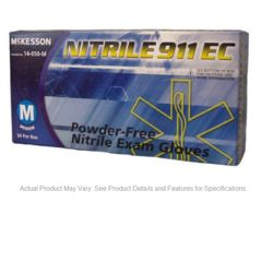 McKesson NITRILE 911 EC NonSterile PowderFree Nitrile Textured Fingertips Blue Latex-Free Chemo Rated
