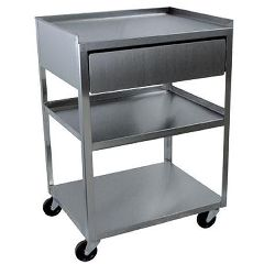 Ideal Medical Products Stainless Steel Rolling Cart- 3 Shelf With Drawer