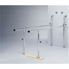 Fabrication Parallel Bars, Wall-Mounted, Wood Base, Folding, Height Adjustable, 7 Foot Long