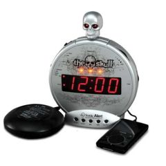 "Sonic Boom ""The Skull"" Alarm Clock w/ Bone Crusher Bed Vibrator"
