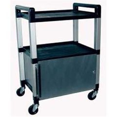 Ideal Poly 3 Shelf Cart With Locking Stainless Cabinet