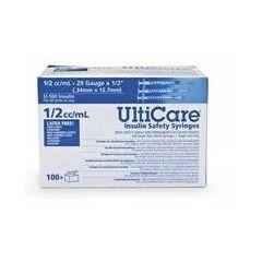 "Ultra-Fine Ulticare Insulin Safety Syringe .5 CC, 29G x 1/2"" Needle"