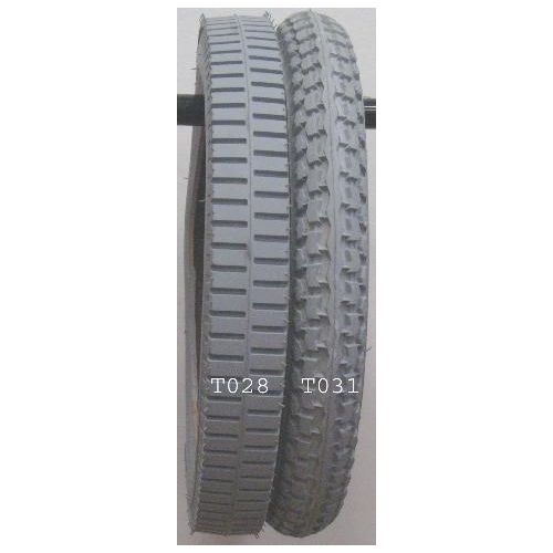 "New Solutions Gray Pneumatic Tire - 14 x 2.125"" (57-35mm) - Knobby Tire"