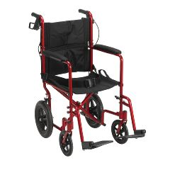 "Drive Lightweight Expedition Aluminum Transport Chair with Loop Locks and 12"" Rear"