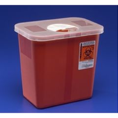 Kendall 3 Gallon Multi-Purpose Sharps Container with Hinged, Rotor Lid - Red