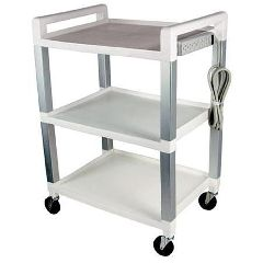 Ideal Medical Products Poly Three Shelf Cart With Power Strip