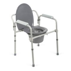 Medline Steel Elongated Bedside Commode - Toilet Seat Not Included