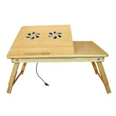 Deluxe Comfort Bamboo Laptop Desk With Fan And Drawer