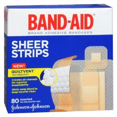 Band-Aid Assorted Sheer Adhesive Bandages, Box of 80