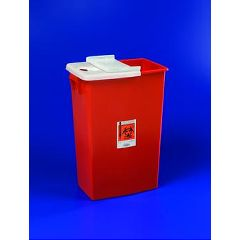 SharpSafety Large Volume Sharps Container Hinged  Lid - 18 gallon, Red