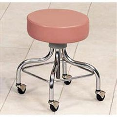 Clinton Industries Adjustable Chrome Base Stool-Square Foot Ring