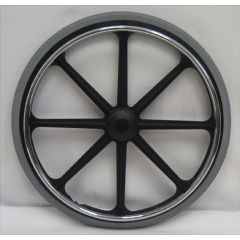 "New Solutions 24"" x 1 3/8"" Mag Wheel (8 Spoke). Rear wheels w/ Urethane Tire Pair"