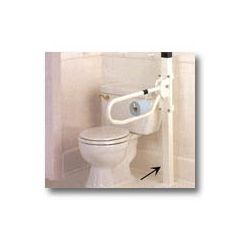 Sammons Preston Toilet Hinged Arm Support - Arm support folds against wall and can be moved with just one hand