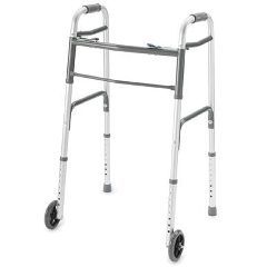 ProBasics Deluxe Two Button Folding Walker with Wheels Installed - Youth