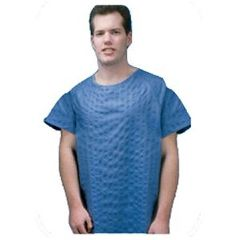 ScripHessco Patient Gown, 2X-Large Blue Broadcloth, 12/Case