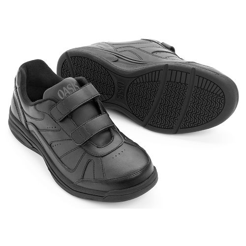 Oasis Footwear Oasis Tyler Hook & Loop Black Diabetic Shoe - Unisex