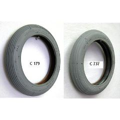 Gray Pneumatic Rib Tire - 8 x 1 1/4""