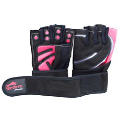 Spinto Men's Workout Glove w/ Wrist Wraps - Red/Gray (SM)